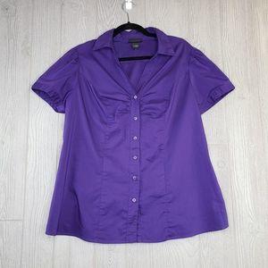 Lane Bryant Plus Size Purple Button Down Top